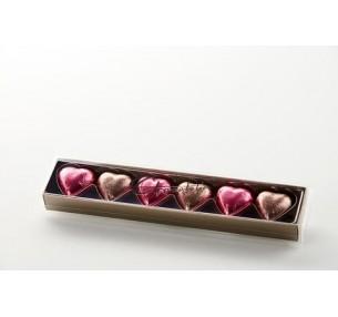 Foiled Hearts Gift Box - Pink & Mocha
